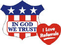 In God We Trust, I Love Referrals & other pre-printed stickers